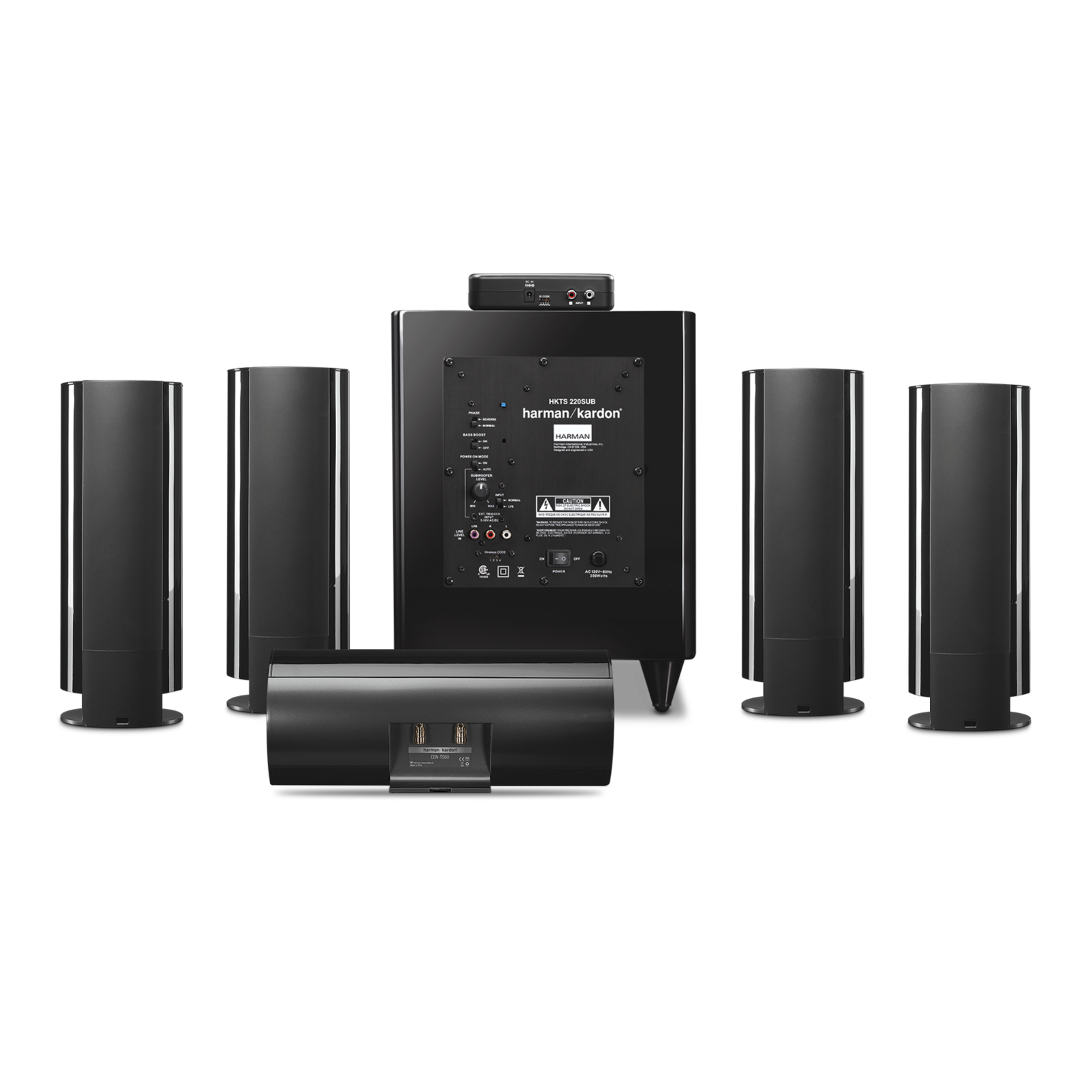 Hkts 65 a 5 1 channel home theater speaker system with for Woofer speaker system